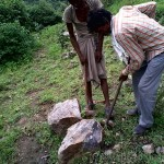 Searching for suitable rock to work